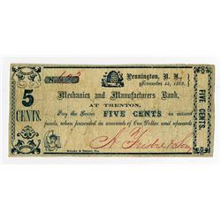 Mechanics and Manufacturers Bank at Trenton. 1862 Obsolete Scrip Note.