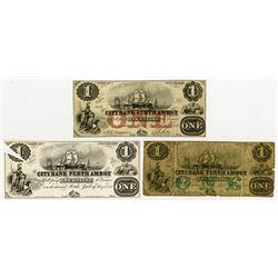 City Bank of Perth Amboy, 1856 Obsolete Banknote Trio.