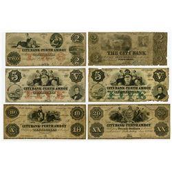 City Bank of Perth Amboy. 1861 Obsolete Notes Sextet.