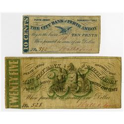 City Bank of Perth Amboy. 1862 Obsolete Scrip Note Pair.