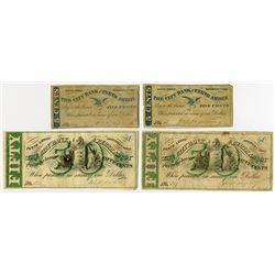 City Bank of Perth Amboy. 1862 Obsolete Scrip Note Quartet.