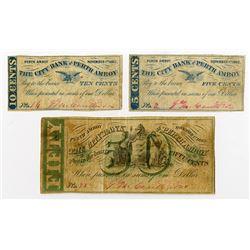 City Bank of Perth Amboy. 1862. Trio of Obsolete Scrip Notes.
