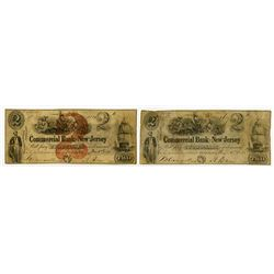 Commercial Bank of New Jersey. 1851 Obsolete Banknote Pair Including one Haxby Plate note.