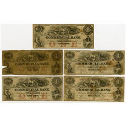 Commercial Bank of New Jersey. 1856 Obsolete Banknote Quintet.