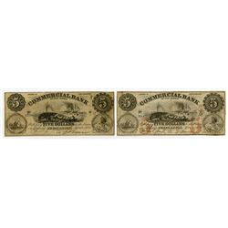 Commercial Bank of New Jersey. 1856. Pair of Obsolete Whaling Vignette Banknotes.