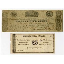 Corporation of the City of Perth Amboy. 1814 & 1837 Obsolete Scrip Note Pair.