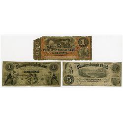Phillipsburgh Bank. 1860 Obsolete Banknote Trio.