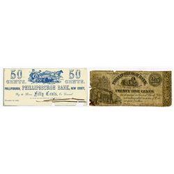 Phillipsburgh Bank. 1862 Obsolete Scrip Note Pair.