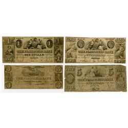 Plainfield Bank. 1843. Quartet of Obsolete Bank Notes.