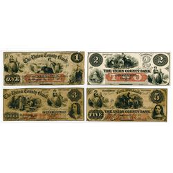 Union County Bank. 1859 Quartet of Obsolete Bank Notes.