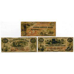 Union County Bank. 1861 Obsolete Banknote Trio.