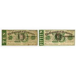 Borough of Princeton. 1862 Obsolete Scrip Note Pair.