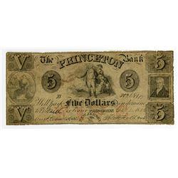 Princeton Bank. 1856 Obsolete Note.
