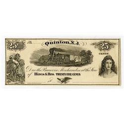Quinton, NJ, Hires & Bro. 1860's Remainder Obsolete Scrip Note.