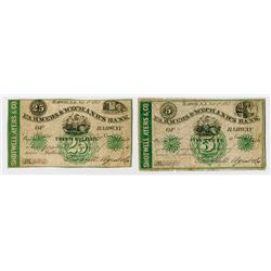 Rahway, NJ. Farmers & Mechanics Bank of Rahway, Shotwell, Ayers & Co. 1862 Obsolete Bank Note Pair.