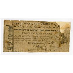 Rahway, NJ. Incorporated Rahway Fire Association. 1837 Obsolete Scrip Note.