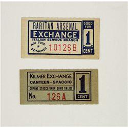 Raritan Arsenal Exchange, Italian Service Branch and Kilmer Exchange Canteen, POW Chits Pair.