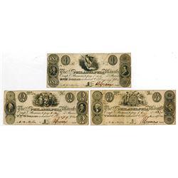 Salem & Philadelphia Manufacturing Co. 1828 Obsolete Banknote Trio.