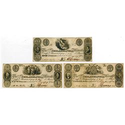 Salem & Philadelphia Manufacturing Co. 1828 Obsolete Banknote Trio.