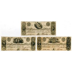 Salem & Philadelphia Manufacturing Co. 1829 Obsolete Banknote Trio.