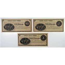 Salem Glass Works. 18(79) Obsolete Banknote Trio.
