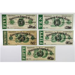 Somerville, NJ. Somerset County Bank, Culver Barcalow. 1862. Quintet of Obsolete Notes.