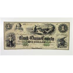Tom's River, NJ. Bank of Ocean County. 1865 Obsolete Banknote.