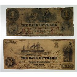 Tom's River, NJ. Bank of Trade. 1858 Obsolete Banknote Pair.