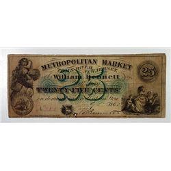 Tom's River, NJ. Metropolitan Market-William Bennett. 1862 Obsolete Scrip Note.