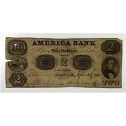Trenton, NJ. America Bank. 1853 Obsolete Banknote.