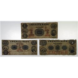 Trenton, NJ. America Bank. 1853. Trio of Obsolete Notes.