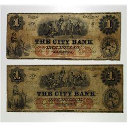 Trenton, NJ. City Bank. 1862 Obsolete Banknote Pair.