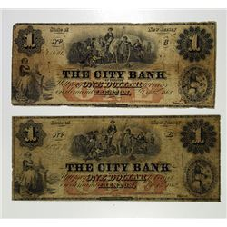 Trenton, NJ. City Bank. 1862 Obsolete Banknote Pair.