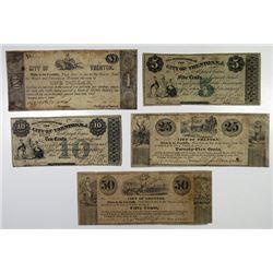 Trenton, NJ. City of Trenton. 1837 & 1863 Issue Obsolete Banknote Quintet.