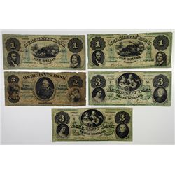 Trenton, NJ. Merchants' Bank. 1861 Issue Obsolete Banknote Quintet.