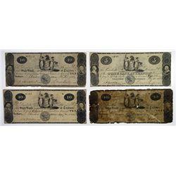 Trenton, NJ. State Bank at Trenton. 1822-23 Obsolete Banknote Quartet.