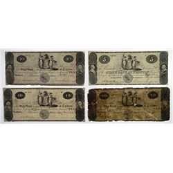 Trenton, NJ. State Bank at Trenton. 1822-23 Obsolete Banknote Quartet.