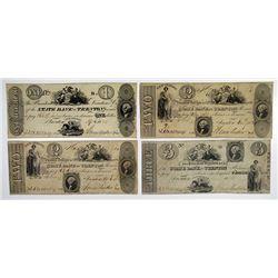 Trenton, NJ. State Bank at Trenton. 1824-25 Obsolete Banknote Quartet.