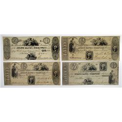 Trenton, NJ. State Bank at Trenton. 1824-25 Obsolete Banknote Quartet.