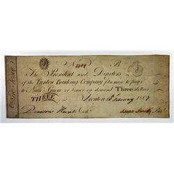 Trenton, NJ. Trenton Banking Co. 1807 Obsolete Banknote.