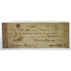 Trenton, NJ. Trenton Banking Co. 1807 Obsolete Banknote.