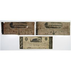 Trenton, NJ. Trenton Banking Co. 1828 Obsolete Banknote Trio.