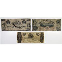 Trenton, NJ. Trenton Banking Co. 1846-62 Obsolete Banknote Trio.