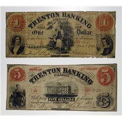 Trenton, NJ. Trenton Banking Co. 1862 Obsolete Banknote Pair.