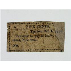 Trenton, NJ. Unknown Issuer. 1814? Obsolete Scrip Note.