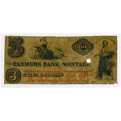 Farmers Bank of Wantage. 1856 $3 Obsolete Banknote.