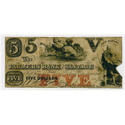 Farmers Bank of Wantage. 1859 $5 Obsolete Banknote.
