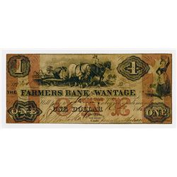 Farmers Bank of Wantage. 1862 $1 Obsolete Banknote.