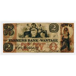 Farmers Bank of Wantage. 1862 $2 Obsolete Banknote.