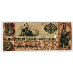 Farmers Bank of Wantage. 1862 $3 Obsolete Banknote.